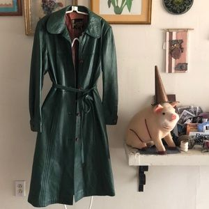 Vintage Forest Green leather Coat with belt